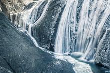 Ice Waterfall In Winter Season...