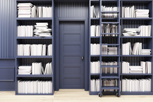 Home Library With A Ladder, Bl...