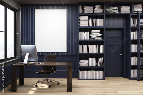 Photo  Home library with a desk, black