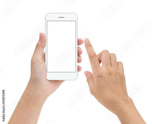 hand touching phone mobile screen isolated on white, mock up sma Wall mural