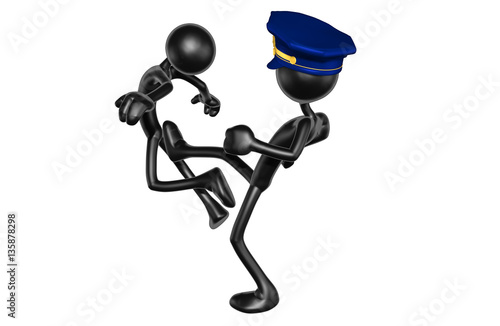 Fotografia  The Original 3D Character Illustration Police Officer Kicking Another