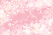 Vector Of Valentine Snowflakes On Pink Background.