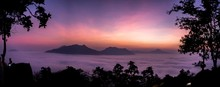 Panoramic Dawn Sky With Mounta...