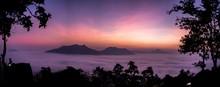 Panoramic Dawn Sky With Mountain And Sea Of Fog At Phu Thok, Chiang Khan, Loei, Thailand