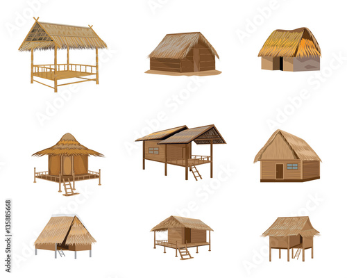 Fototapeta straw roof hut vector design