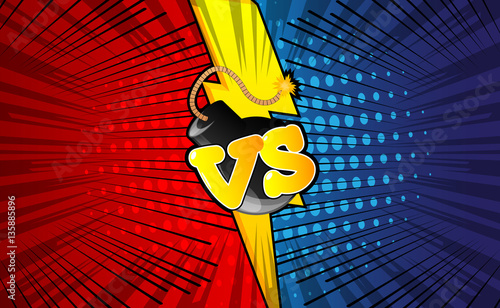 Poster Pop Art Vector decorative background with versus letters in pop art style.