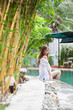 Beautiful Woman Swimming Pool At Resort Relaxed Portrait Young Asian Girl Tropical Vacation