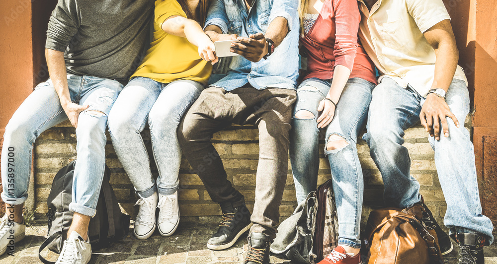 Fototapety, obrazy: Group of multiculture friends using smartphone on urban background - Technology addiction concept in youth lifestyle disinterested to each other - Always connected people on modern mobile smart phones