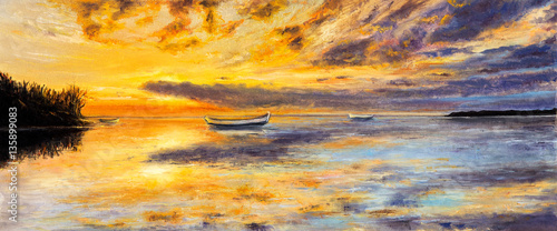 Aluminium Prints Melon Boat and sunset