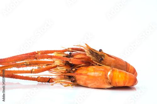 Photo  Grilled shrimp isolated on white background