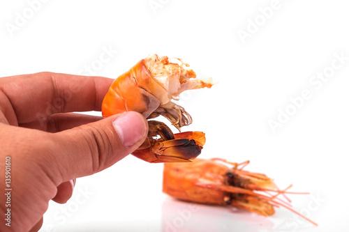 Canvastavla  Grilled shrimp isolated on white background