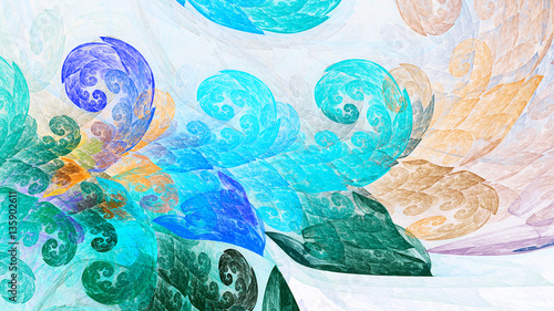 Field grass. Colored leaves. Artistic swirls. 3D surreal illustration. Sacred geometry. Mysterious psychedelic relaxation pattern. Fractal abstract texture. Digital artwork graphic astrology magic