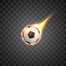 Flying Burning Football Ball On Transparent Background.