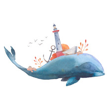 Watercolor Creative Whale Poster. Hand Painted Fantasy Blue Sea Whale With Lighthouse, Plants, Wheel, Old Boat, Stones Isolated On White Background. Vintage Style Nautical Art