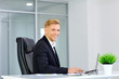 canvas print picture - Businessman smiling blond for a laptop at his desk in the office.