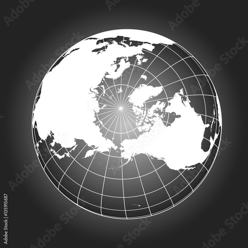 North pole map in black and white vector map earthglobe worldmap north pole map in black and white vector map earthglobe worldmap gumiabroncs Choice Image
