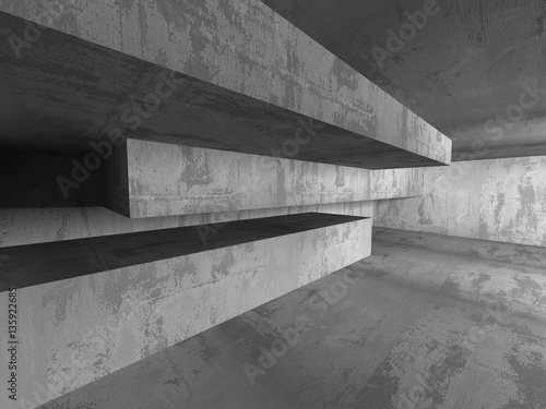 Poster Betonbehang Concrete architecture background. Abstract empty dark room
