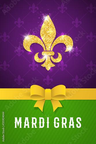 Mardi gras brochure fat tuesday logo with golden lily symbol mardi gras brochure fat tuesday logo with golden lily symbol greeting card with shining m4hsunfo