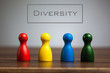 canvas print picture - Diversity concept with four pawn figurines on table, grey backgr