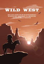 Silhouette Of An Indian On The Background Of The Wild West.