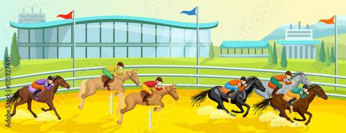 Equestrian Sport Cartoon Template Fototapet