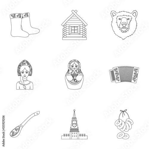 Poster Doodle Russia country set icons in outline style. Big collection of Russia country vector symbol stock illustration