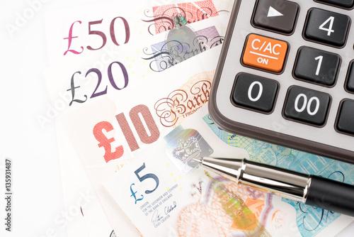 Fotografía  British Pound money bills of United Kingdom in Different value