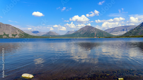 Landscape Big Vudyavr Lake in the Hibiny mountains. Blue sky and