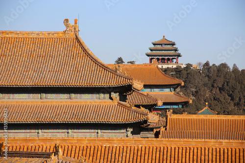 Foto op Aluminium Beijing Pagode Dach in der Verbotenen Stadt Beijing Peking