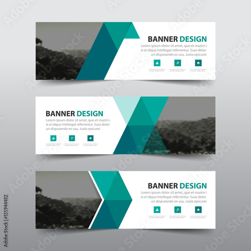 Fototapeta Green triangle abstract corporate business banner template, horizontal advertising business banner layout template flat design set , clean abstract cover header background for website design