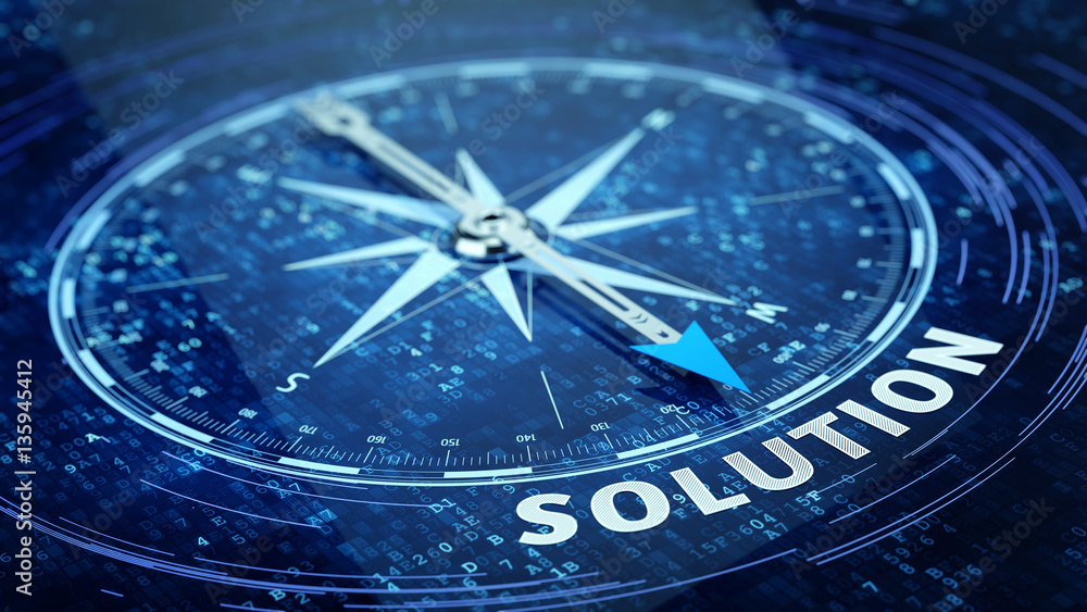 Fototapeta Business solution concept - Compass needle pointing solution word. 3d rendering