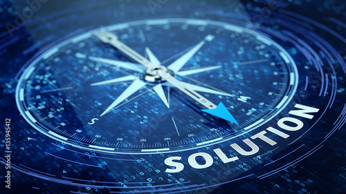 Fotografía  Business solution concept - Compass needle pointing solution word