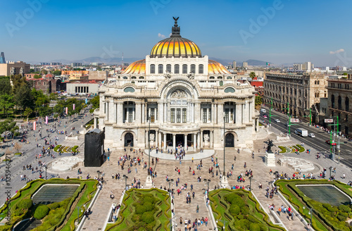 Photo Stands Theater Palacio de Bellas Artes or Palace of Fine Arts in Mexico City