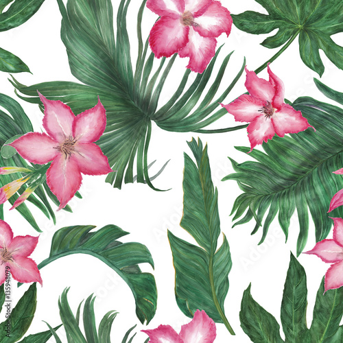 Watercolor Painting Seamless Pattern With Tropical Flowers And Palm