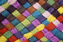Colorful Yarn Weave Close Up