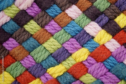 Fotomural Colorful yarn weave close up