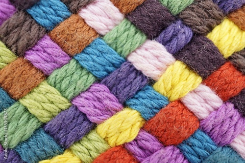 Colorful yarn weave close up Fototapet