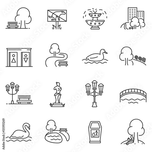 Fotografija  City park icons set