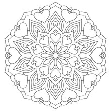 Flower Mandala With Hearts. Coloring Page For Valentine's