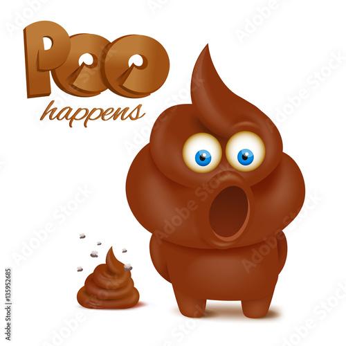 Photo  feces emoji funny character. Poo happens concept card