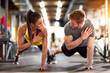 Leinwandbild Motiv Man and woman strengthen hands