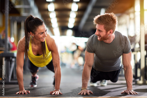 Female and male compete in endurance