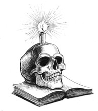 Book, Skull And Burning Candle