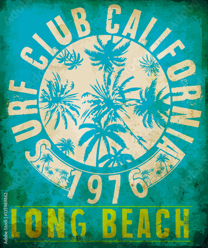 Surf Club Tropical grafika z typografią