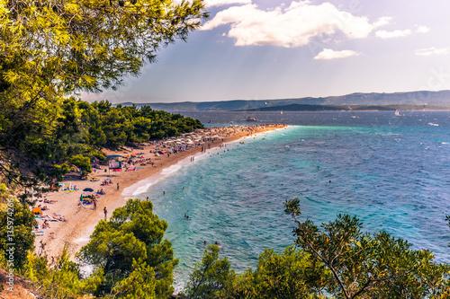 Papel de parede July 17, 2016: The beach of Bol in the island of Brac, Croatia