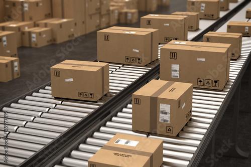 Fotomural Boxes on conveyor roller. 3D Rendering