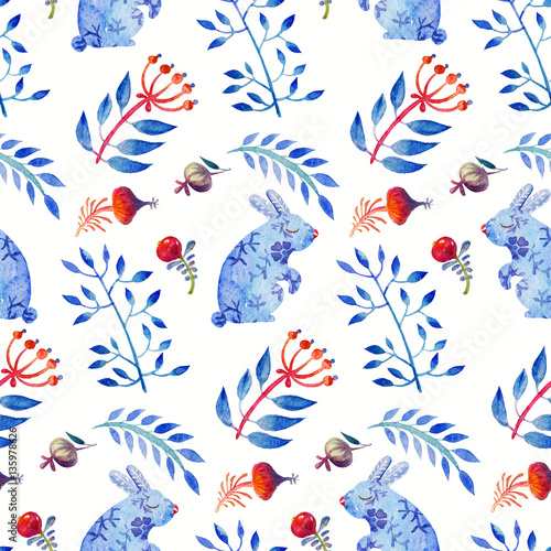 Cotton fabric Cute Lovely watercolor seamless floral spring tile with hares and leaves, berries and rose hips. Colorful animal Pattern Perfect for a happy Easter and textiles.