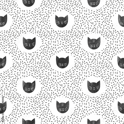 Cotton fabric Seamless fashion pattern with cute black cats. Vector dots background.