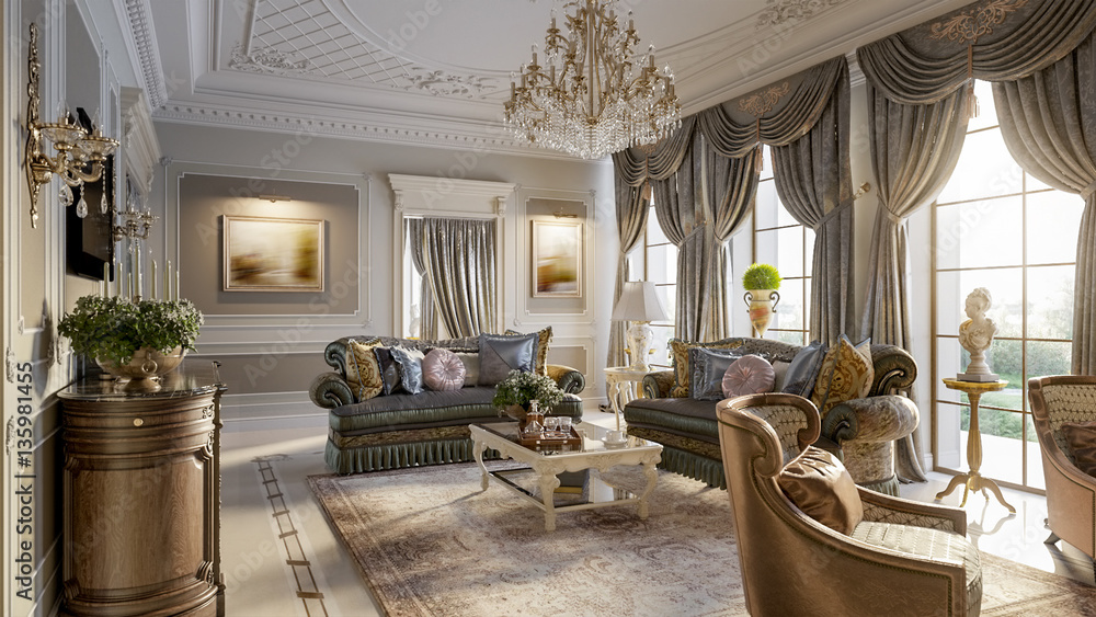 Fototapety, obrazy: Luxurious baroque living room