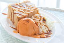 Honey Toast Bread And Ice Cream